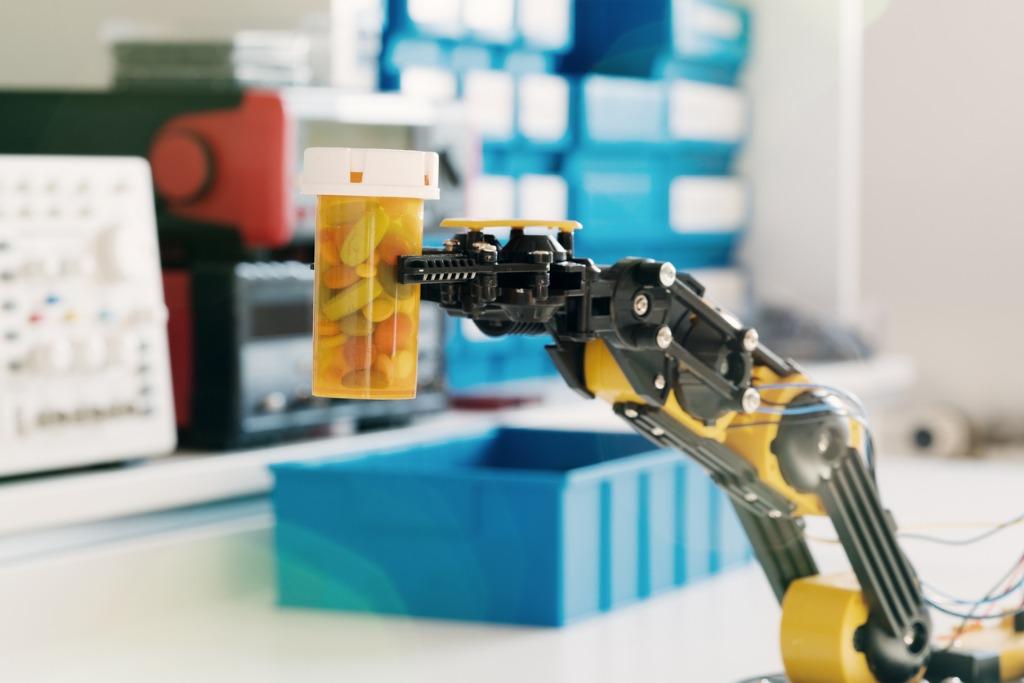 plastic-model-of-industrial-robotics-arm-picture-id578577256